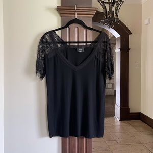 Black Top With Lace Size Medium